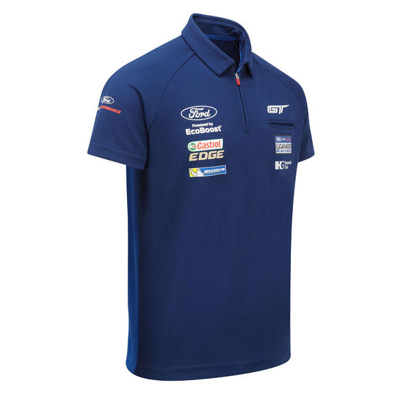 Ford Motorsport Mens Polo Shirt Zip Collar - WEC Ford GT Ganassi Racing Team
