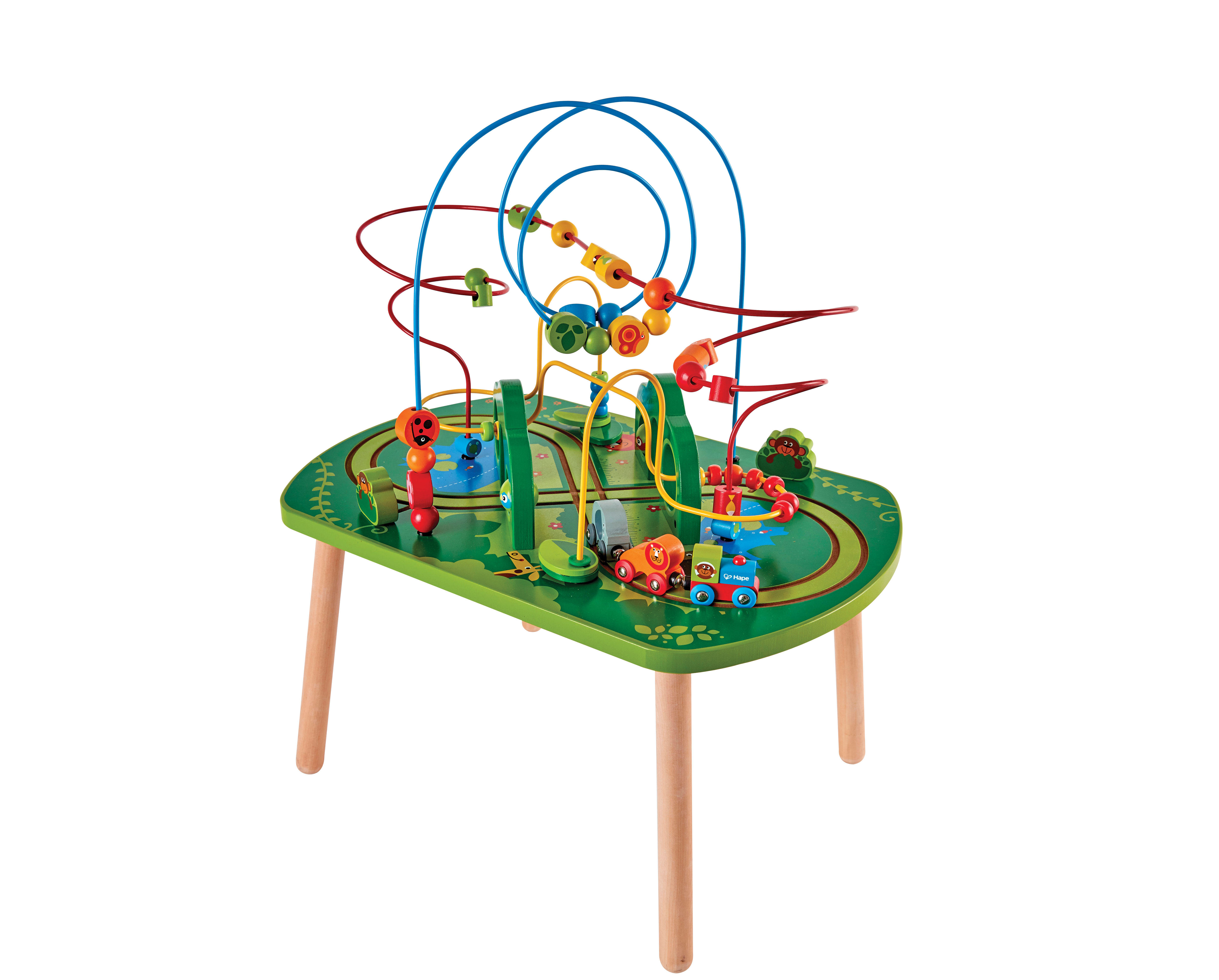 HAPE E3801 Jungle Play & Train Activity Table Wooden Toys ...