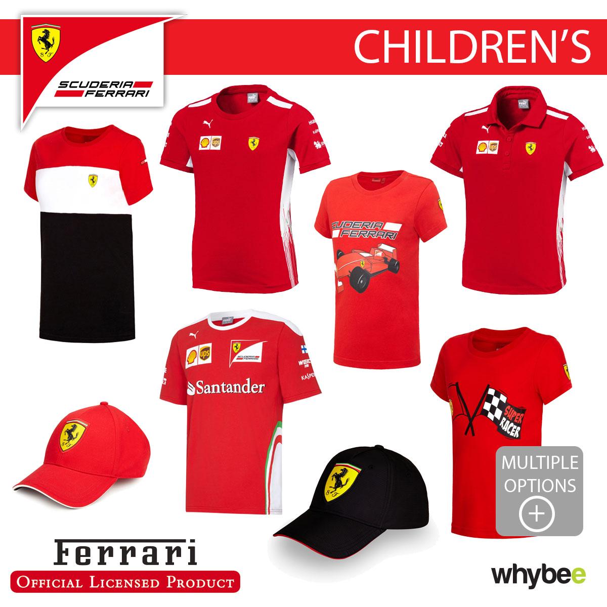 Ferrari F1 Formula One Team Childrens T Shirts Polo S Kids Boys