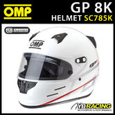 New! SC785K OMP Karting GP8K Full Face Kart Helmet with Rear Spoiler GP 8K SNELL