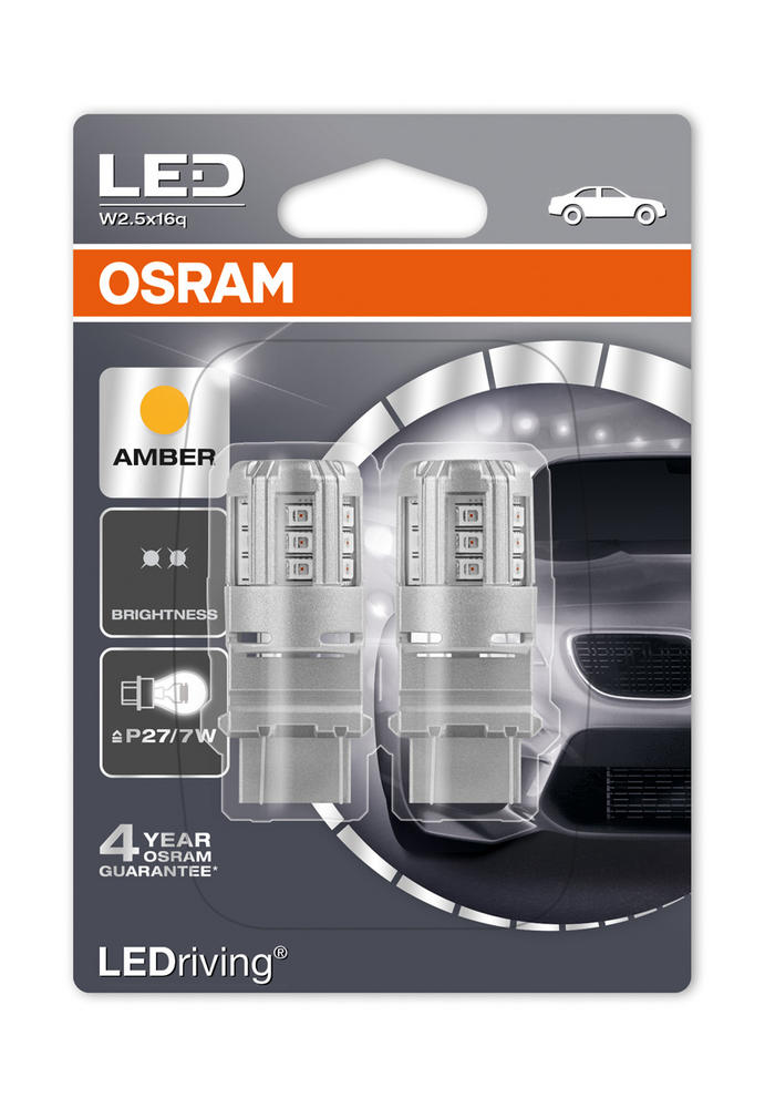 Osram LED Amber Orange Bulbs P27/7W 180 (3157) S8W W2.5x16q Wedge 3547YE-02B