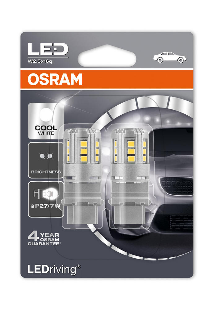 Osram LED 6000K Cool White Bulbs P27/7W 180 (3157) S8W W2.5x16q Wedge 3547CW-02B