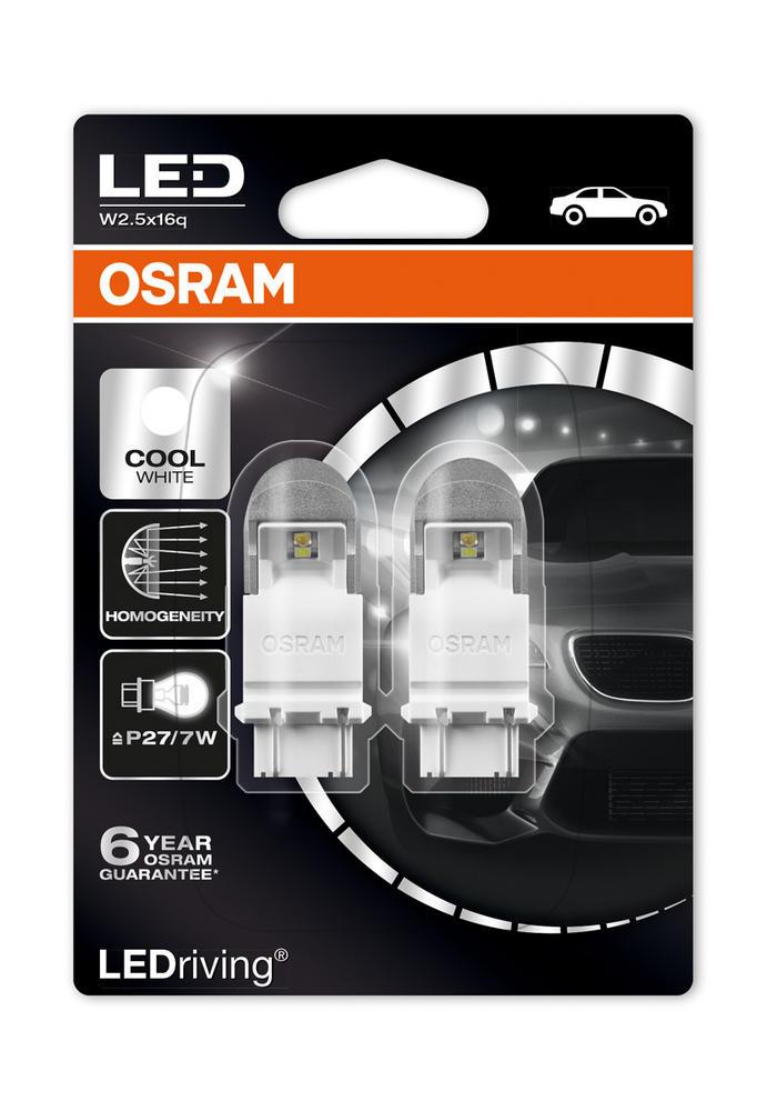 Osram Premium LED 6000K Cool White Bulbs P27/7W 180 3157 S8W W2.5x16q 3557CW-02B