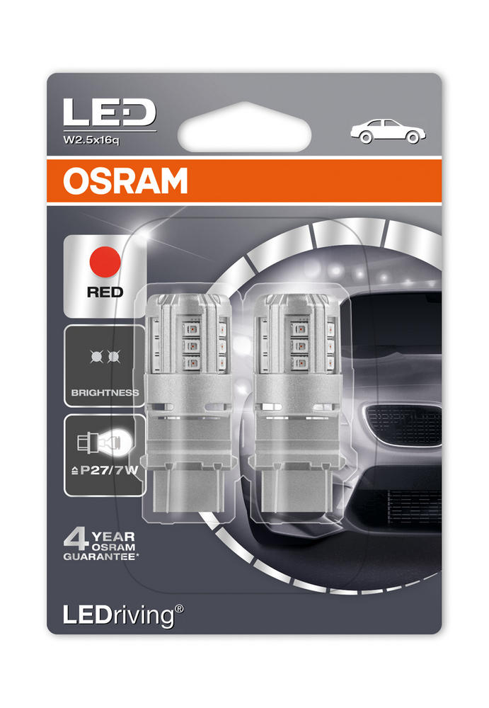 Osram LED Red Brake Light Bulbs P27/7W 180 (3157) S8W W2.5x16q Wedge 3547R-02B