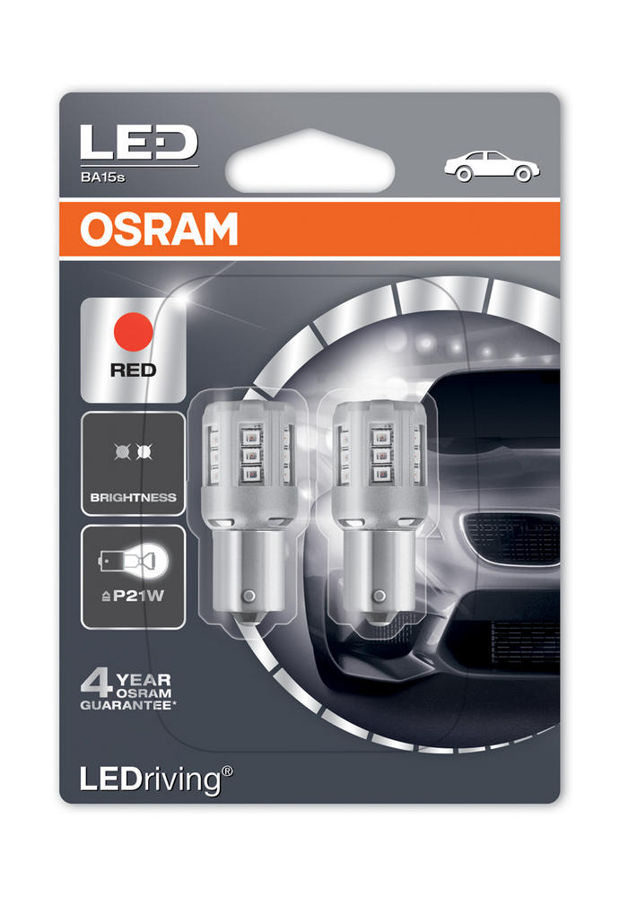 Osram LED Red Brake Light Bulbs P21W 382R BA15s Bayonet Coloured Glass 7456R-02B