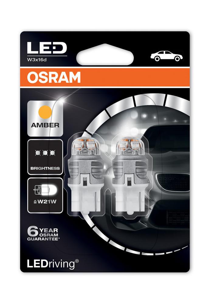 Osram Premium LED Indicator Bulbs 582/382W Amber W21W W3x16d T20 1W 7905YE-02B