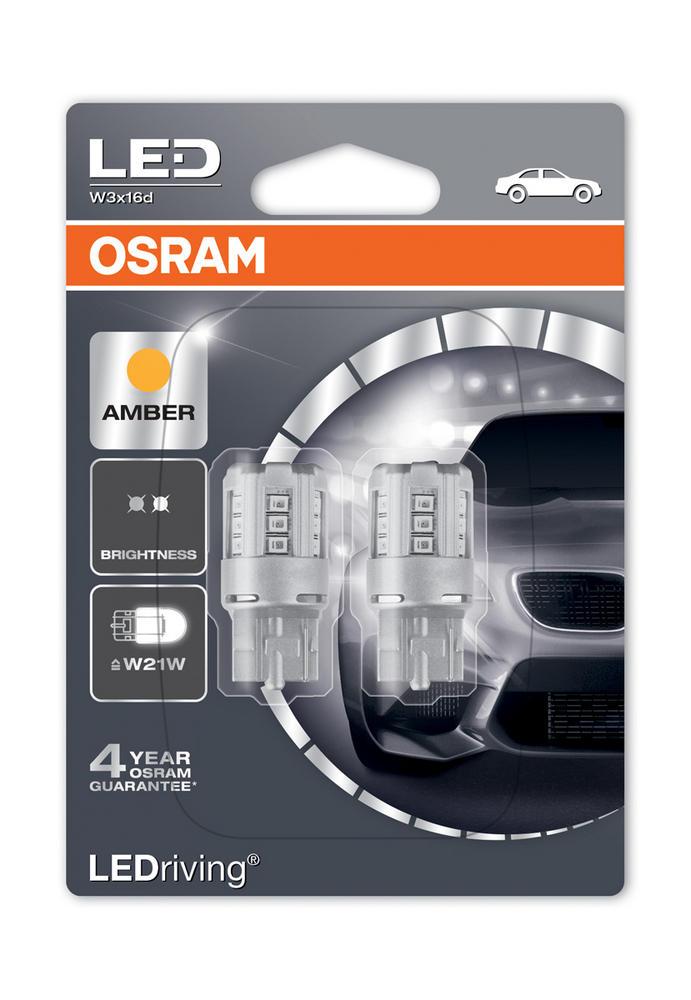 Osram LED Indicator Bulbs 582/382W Amber W21W Wedge W3x16d T20 12V 1W 7705YE-02B