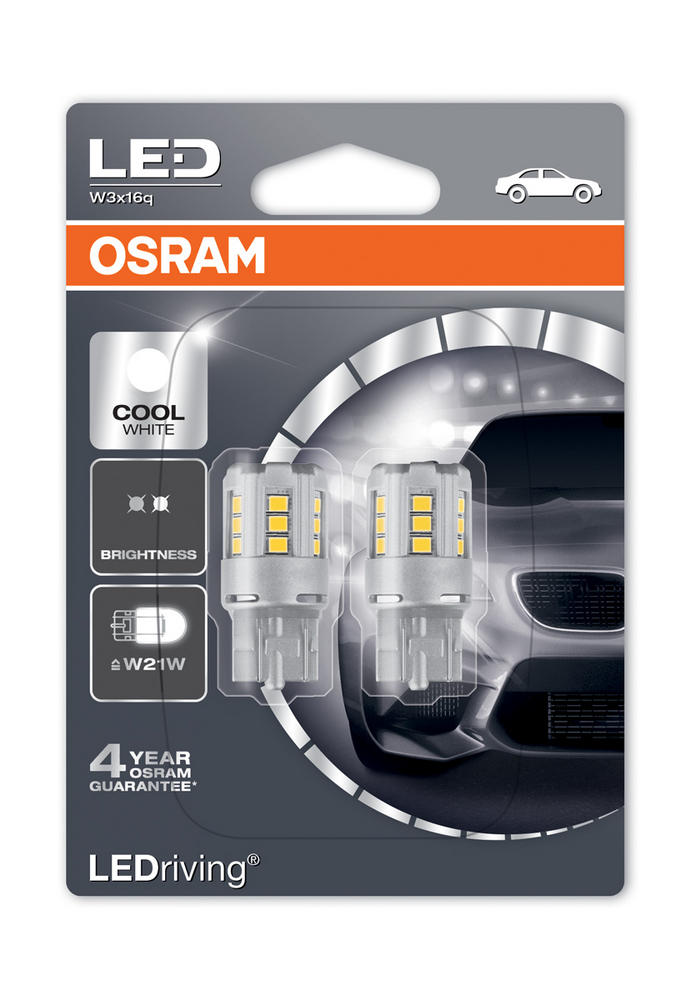 Osram LED 582/382W Cool White 6000K Bulbs W21W W3x16d T20 SC 12V 2.5W 7705CW-02B