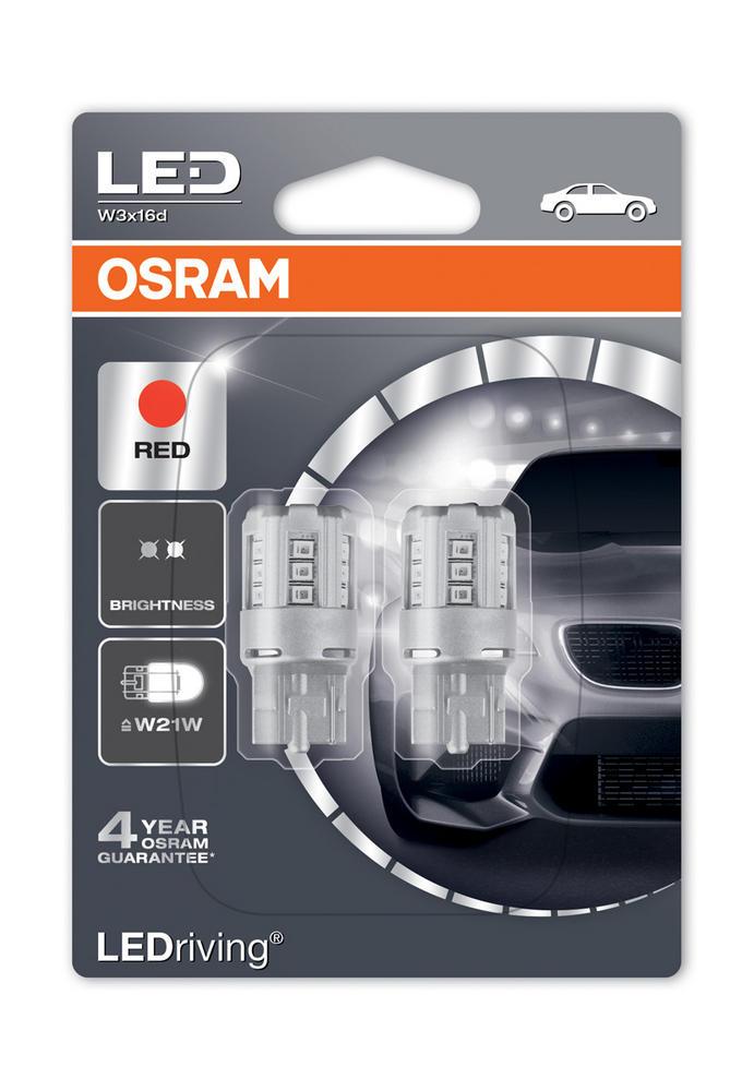 Osram LED 582/382W 3W Red Brake Light Bulbs W21W Wedge W3x16d T20 SC 7705R-02B