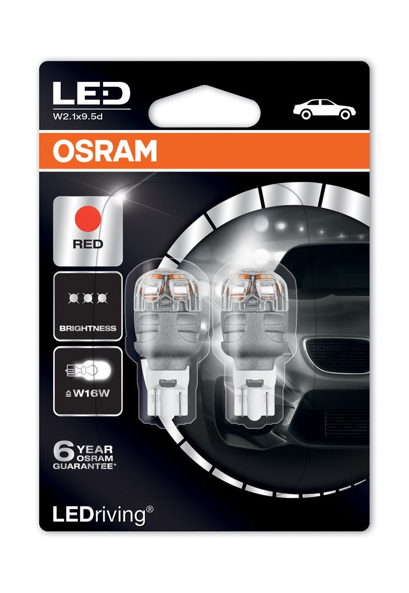 Osram Premium LED 921 Red Brake Light Bulbs W16W (T16) Wedge 12V 2W  9213R-02B