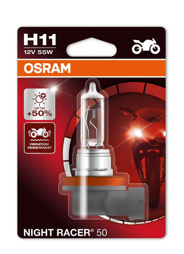 New! Osram H11 (711) NIGHT RACER 50 Motorbike Bulb +50% More Light! 64211NR5-01B