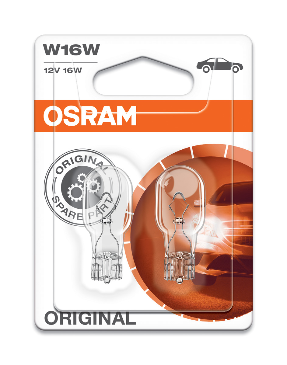 Osram Original W16W Wedge Bulbs T16 12V 16W W2 1x9 5d 921 955 921-02B Twin  Pack
