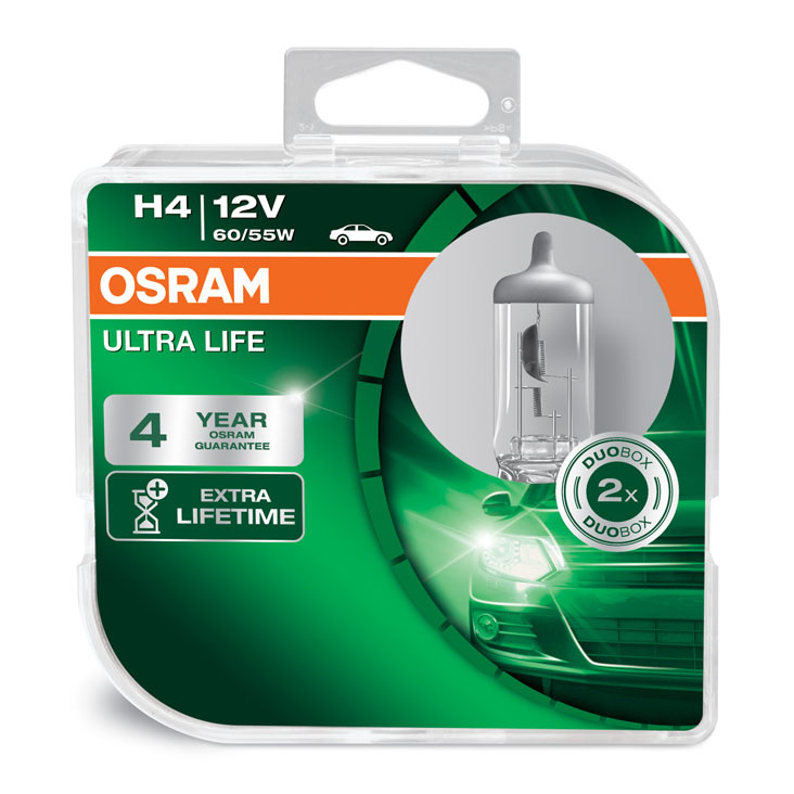 Osram H4 (472) Ultra Life Headlight Bulbs Extra Long Life 60/55W x2 64193ULT-HCB