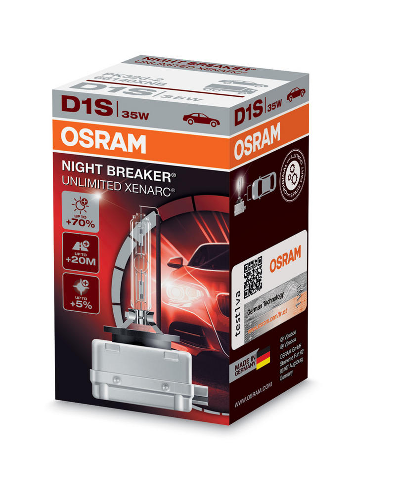 Osram D1S Night Breaker Unlimited XENARC Bulb (x1) HID Xenon Gas 35W 66140XNB