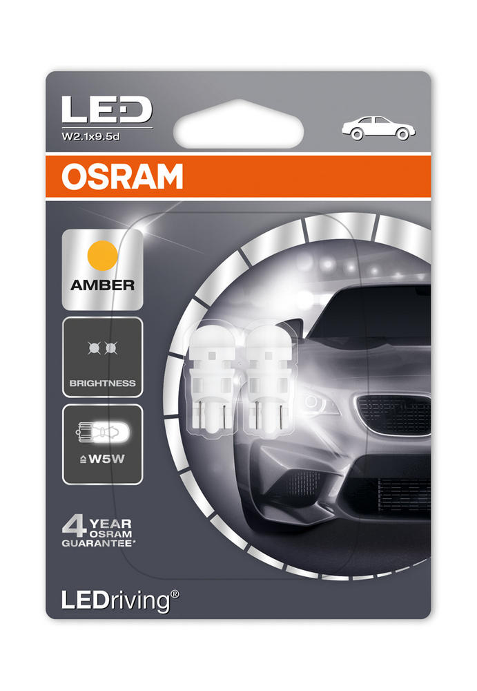 Osram LED AMBER W5W 5W Sidelight Bulbs (501) Wedge 1W LED Retrofit 2880YE-02B