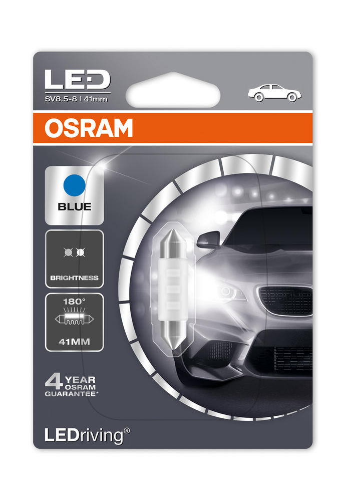 New! Osram LED Blue C5W (264/265) 41mm Festoon LED Interior Blue Bulb 6441BL-01B