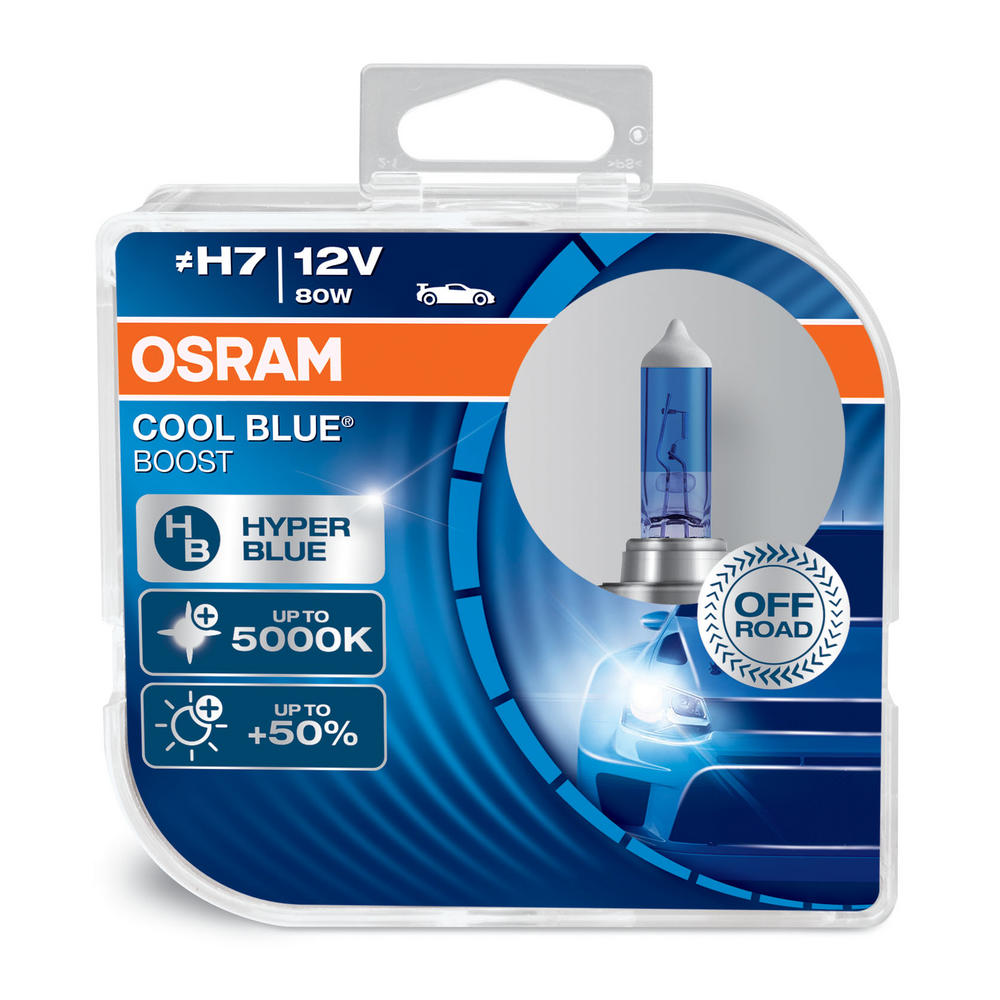 New! Osram H7 Cool Blue Boost 5000K Hyper Blue Bulbs (X2) 80W 12v 62210CBB-HCB