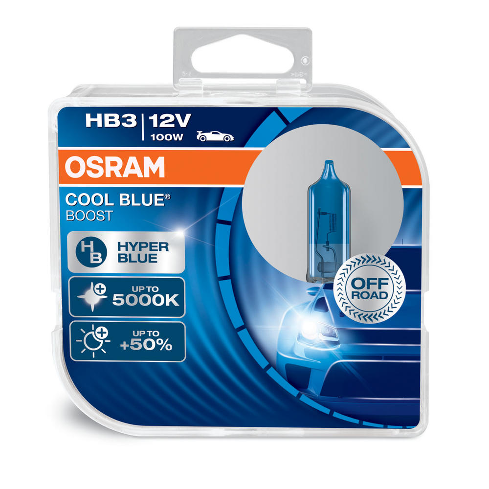 New! Osram HB3 (9005) Cool Blue Boost 5000K Hyper Blue Bulbs (x2) 69005CBB-HCB