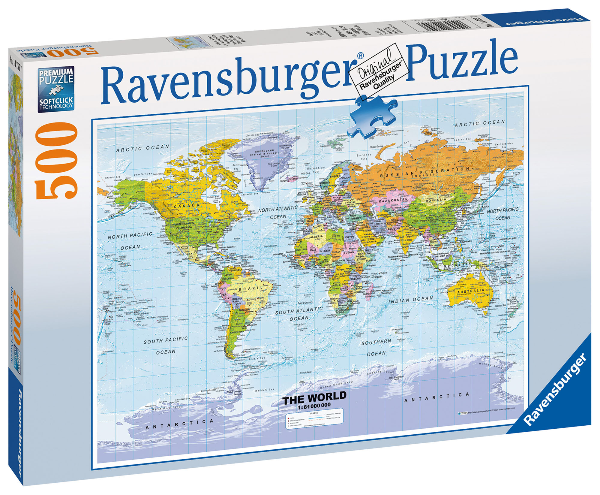 Polictical World Map.14755 Ravensburger Political World Map Jigsaw 500 Pcs Puzzle Age 10