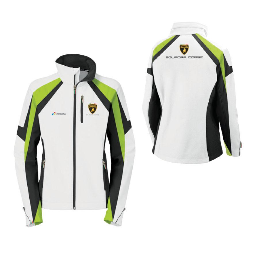 LC282206 Lamborghini Squadra Corse Womens Team Ladies Softshell Jacket (White)