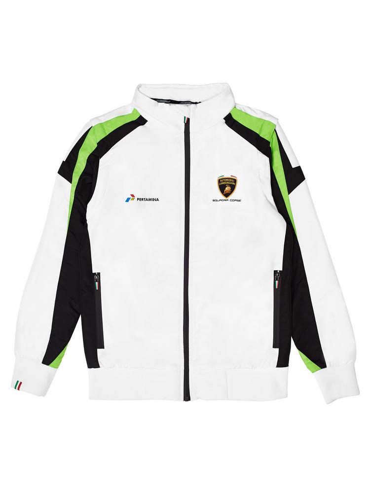 LC284006 Lamborghini Squadra Corse Womens Ladies Windbreaker Jacket Coat (White)