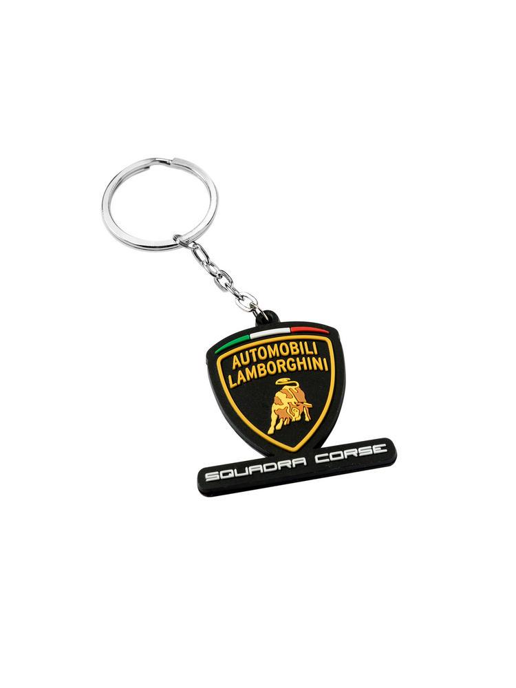 Lamborghini Squadra Corse Keyring Black PVC Key Fob GT3 Team Racing Key Chain