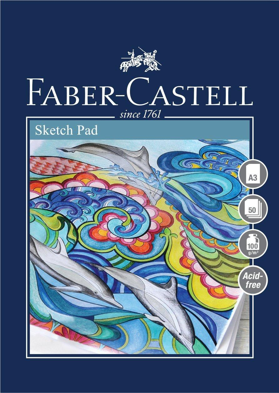 #792911 Faber Castell A5 Green Sketch Pad 160gsm 40 Page Sheets Draw Art Artist