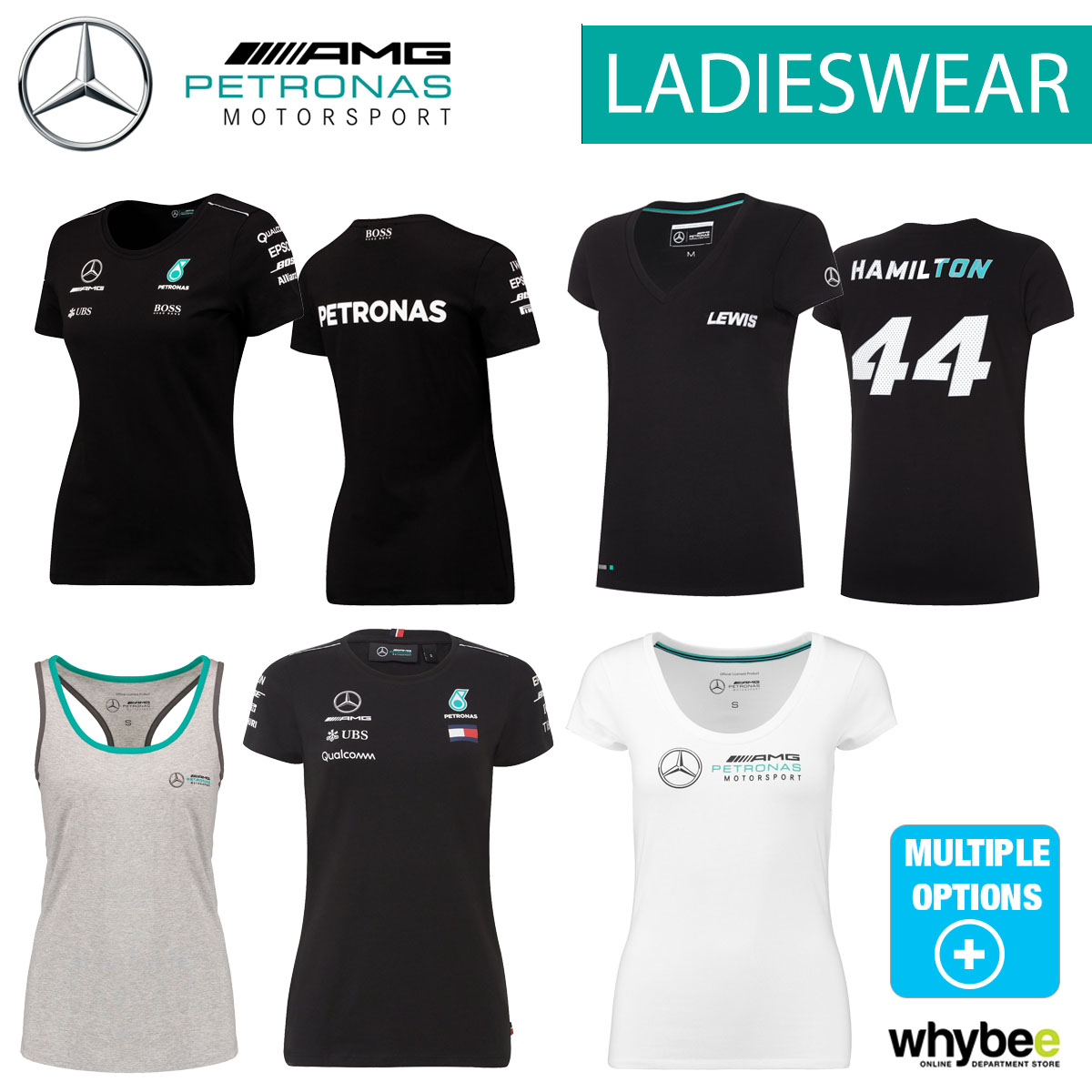 4e98dd7df943 Sentinel Official Mercedes F1 Formula One Team Ladieswear Womens T-Shirts  Polo Clothing