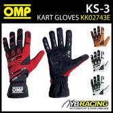 NEW! KK02743E OMP KS-3 KS3 KART GLOVES NEW 2018 UPDATED MODEL