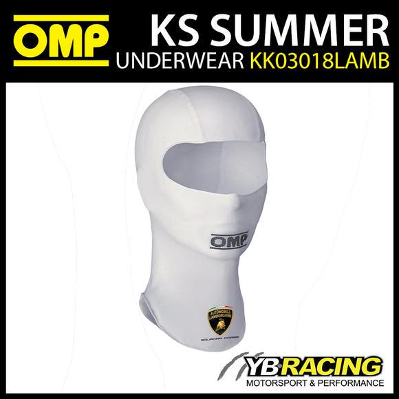 KK03018LAMB020 OMP KART KS SUMMER KARTING BALACLAVA WHITE LAMBORGHINI