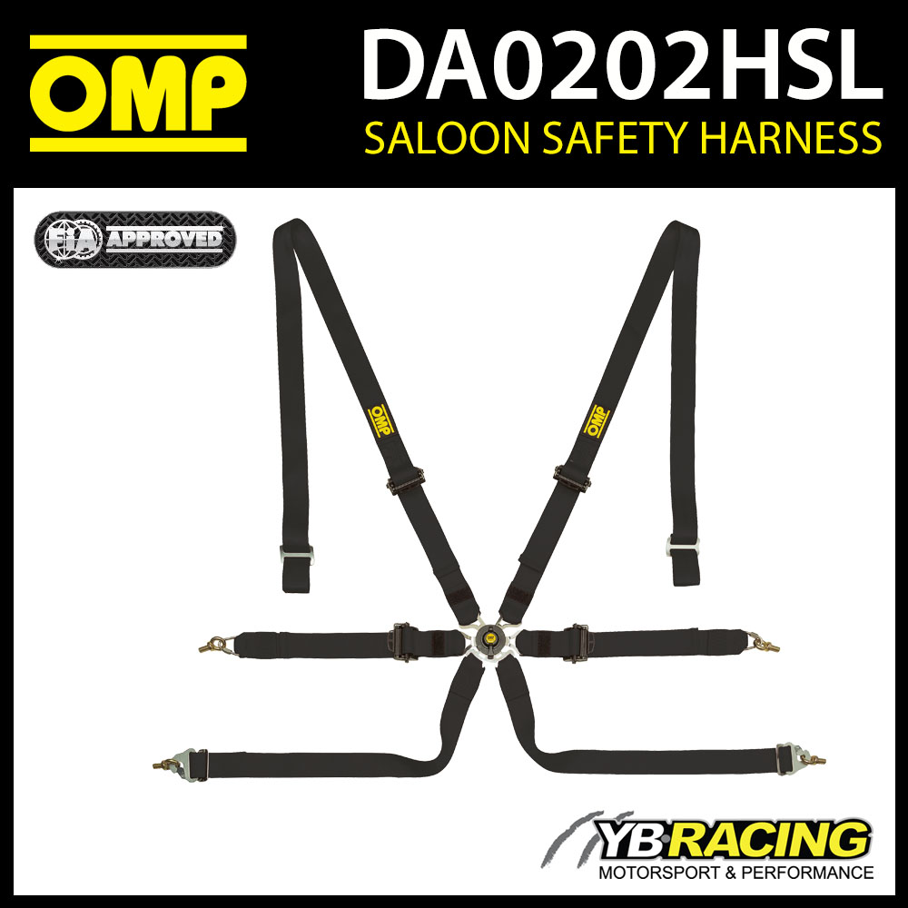 DA0202HSL071 OMP PROFESSIONAL RACING HARNESS BELTS 6-POINT BLACK FIA 8853-2016