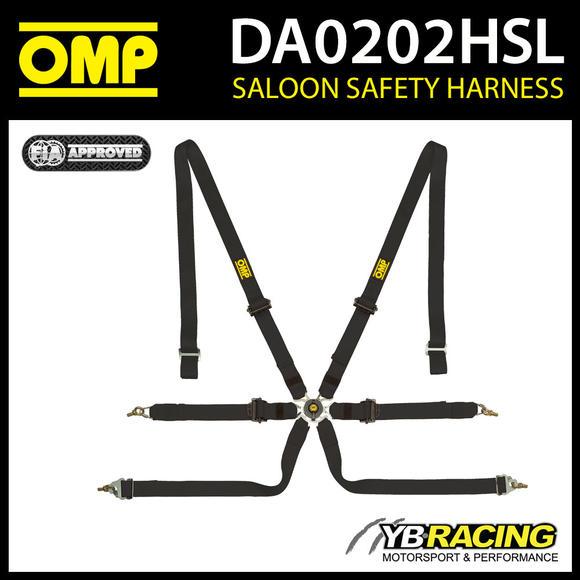 DA0202HSL071 OMP PROFESSIONAL RACING HARNESS BELTS 6-POINT BLACK FIA 8853-2016