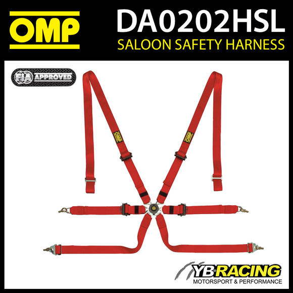 DA0202HSL061 OMP PROFESSIONAL RACING HARNESS BELTS 6-POINT IN RED FIA 8853-2016