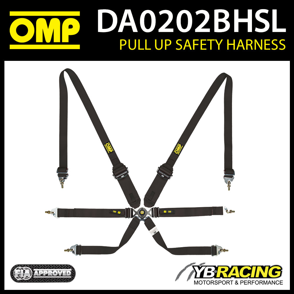 DA0202BHSL071 OMP RACING HARNESS PULL UP TYPE FHR 6-POINT BLACK FIA 8853-2016