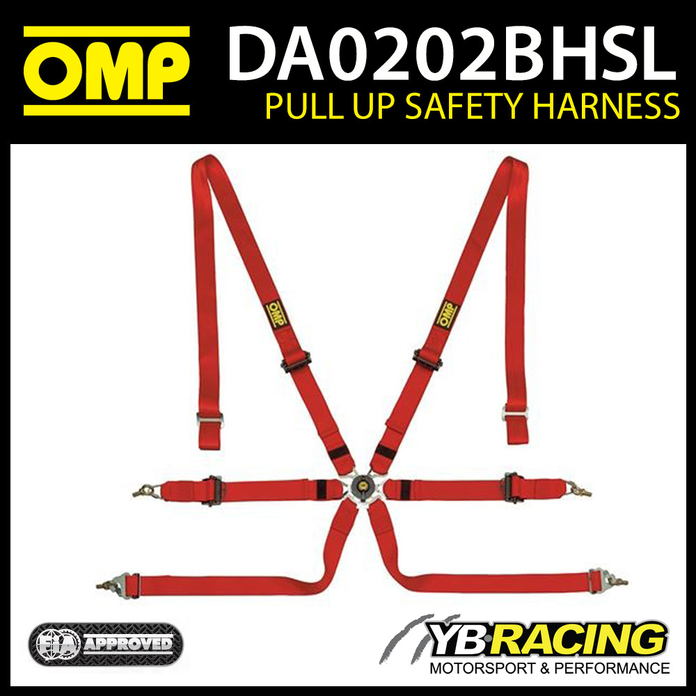 DA0202BHSL061 OMP RACING HARNESS PULL UP TYPE FHR 6-POINT RED FIA 8853-2016 2023