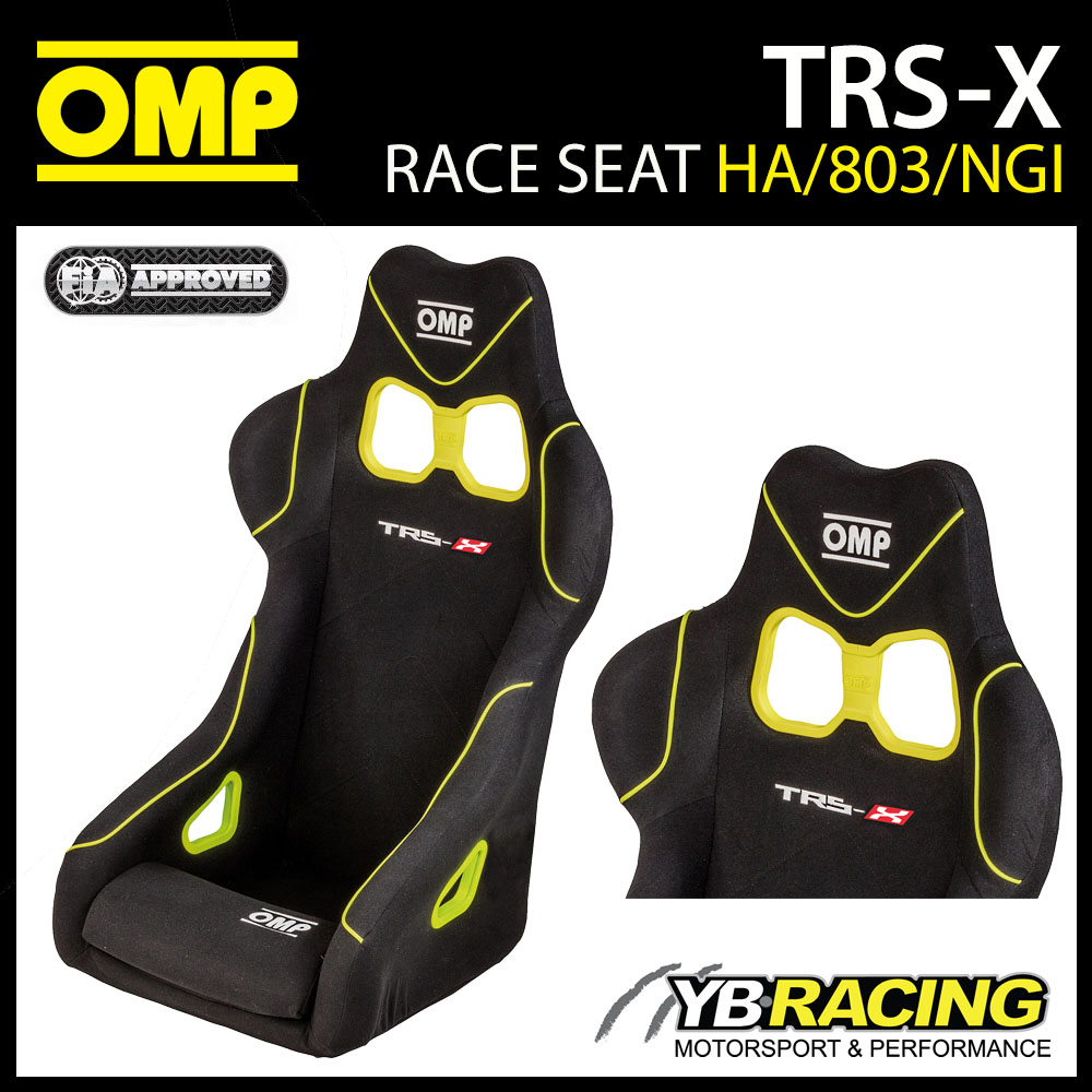 NEW! HA/803/NGI OMP TRS-X RACE BUCKET SEAT in BLACK/YELLOW FIA 8855-1999 APPROVED