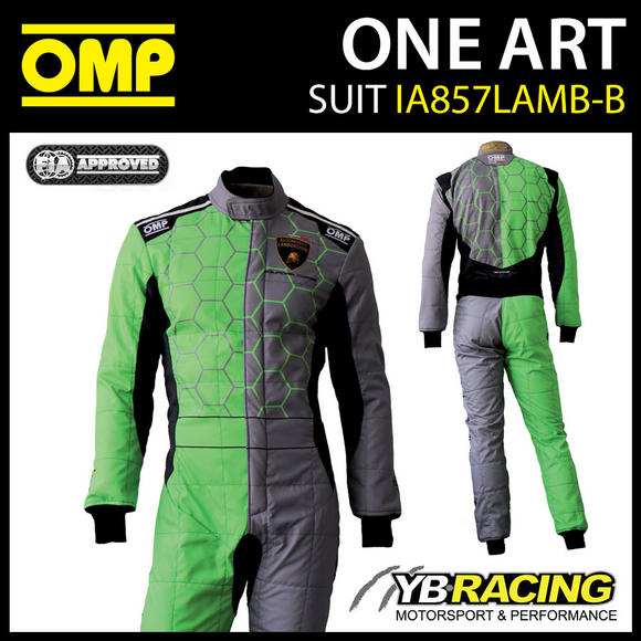 IA857 OMP ONE ART CUSTOM RACE SUIT LAMBORGHINI DESIGN in GREY/GREEN