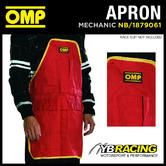 NB/1879061 OMP RACING PIT CREW MECHANIC RED/YELLOW COTTON WORK APRON