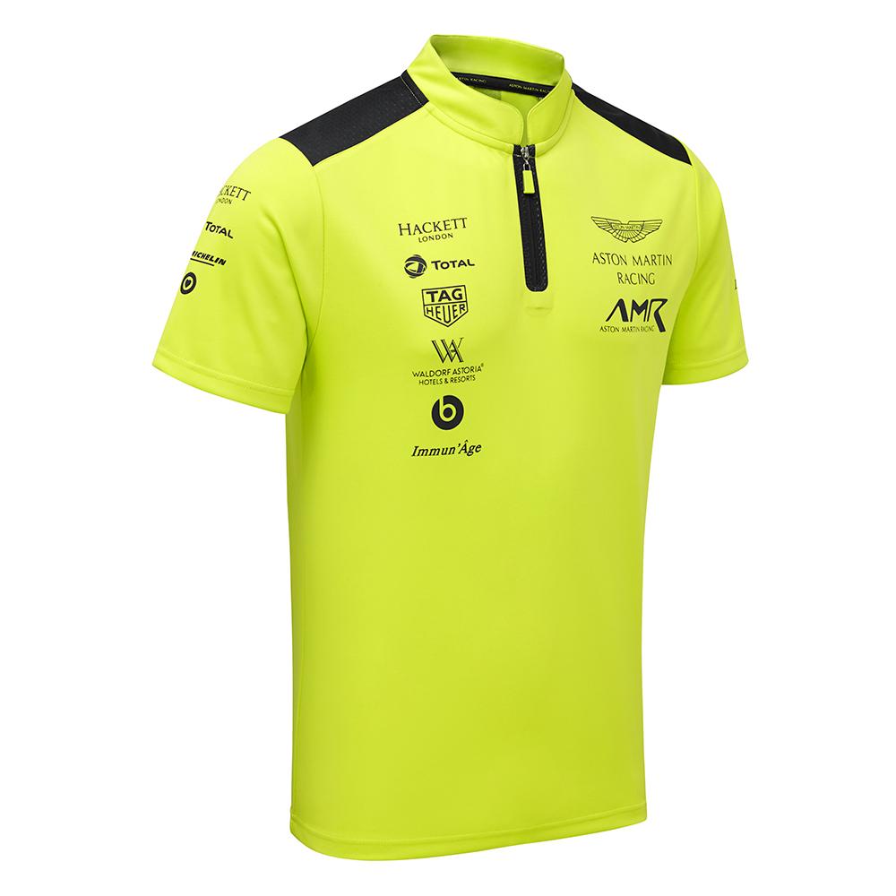 new! 2018 aston martin racing team mens polo shirt in green zip