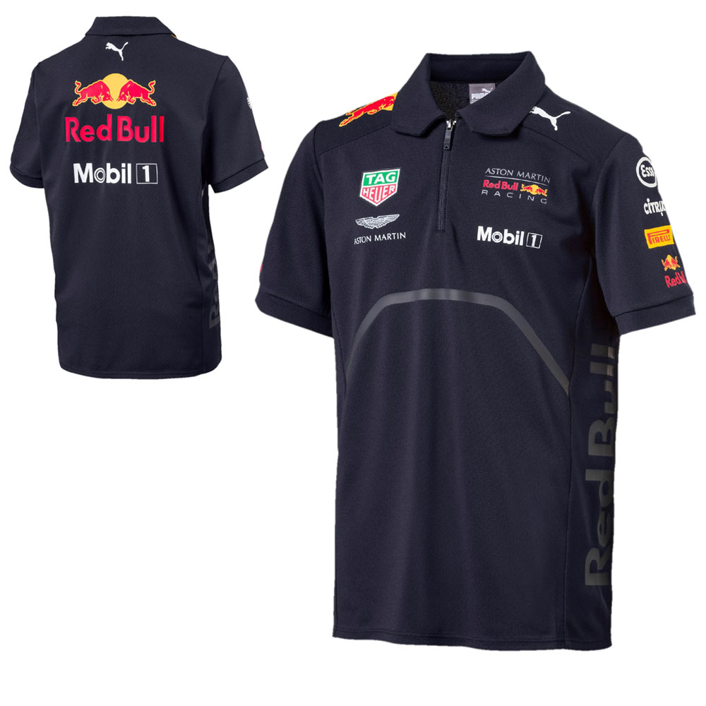Sale! 2018 Red Bull Racing F1 Childrens Polo Shirt Boys Kids Official Puma Team