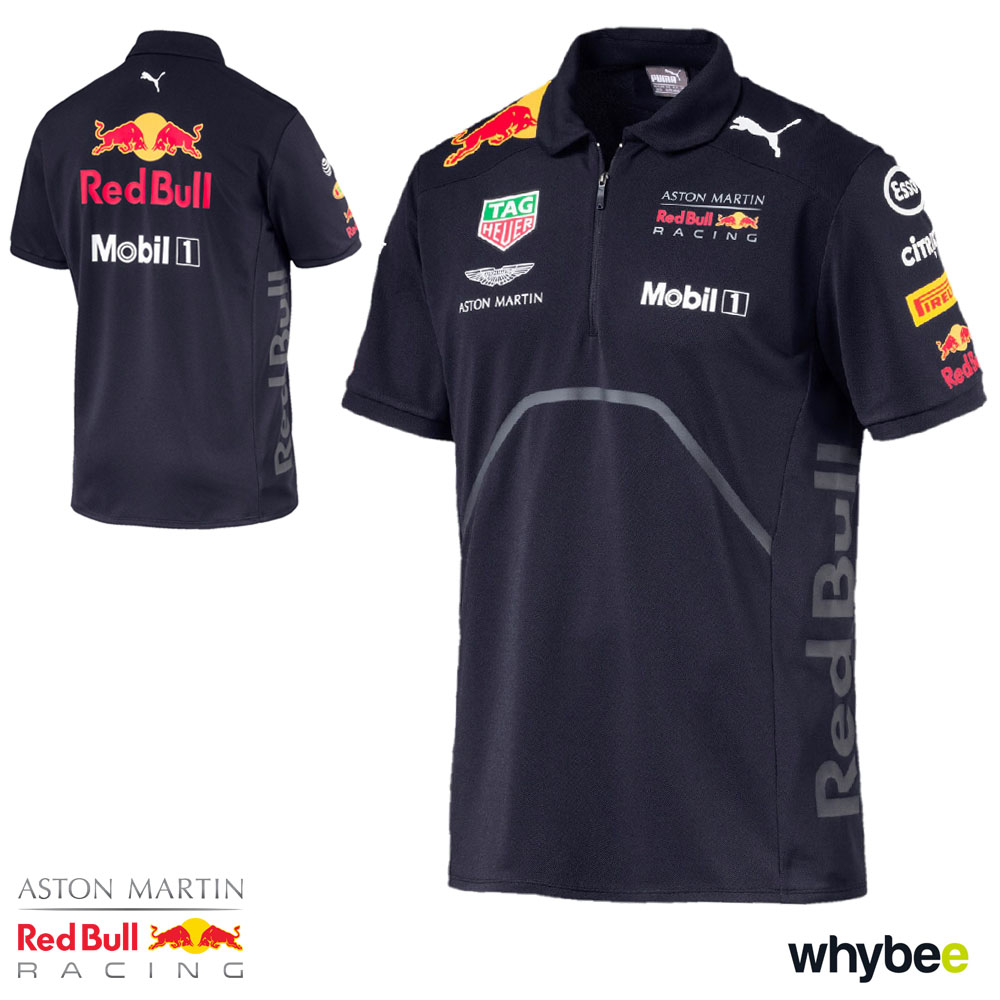 eb55ebbb252 2018 Red Bull Racing Formula One Team Mens Polo Shirt Navy Official Puma F1