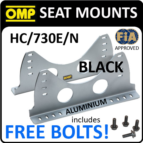 SALE! HC/730E/N OMP BUCKET SEAT MOUNTS ALUMINIUM SIDE BRACKETS BLACK with BOLTS