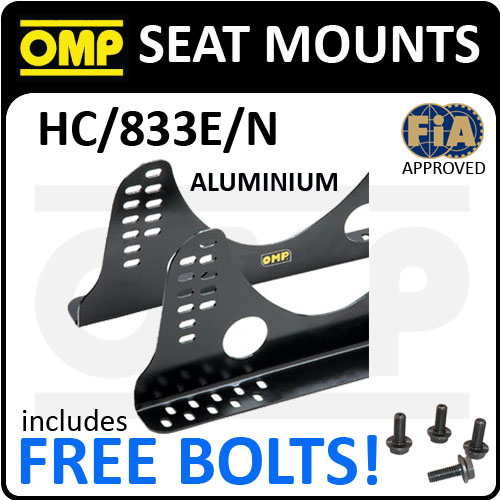 HC/833E/N OMP RACING ADJUSTABLE SEAT MOUNT BRACKETS in ALUMINIUM BLACK 6mm FIA