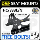 HC/833E/N OMP RACING ADJUSTABLE SEAT MOUNT BRACKETS in ALUMINIUM BLACK 6mm FIA