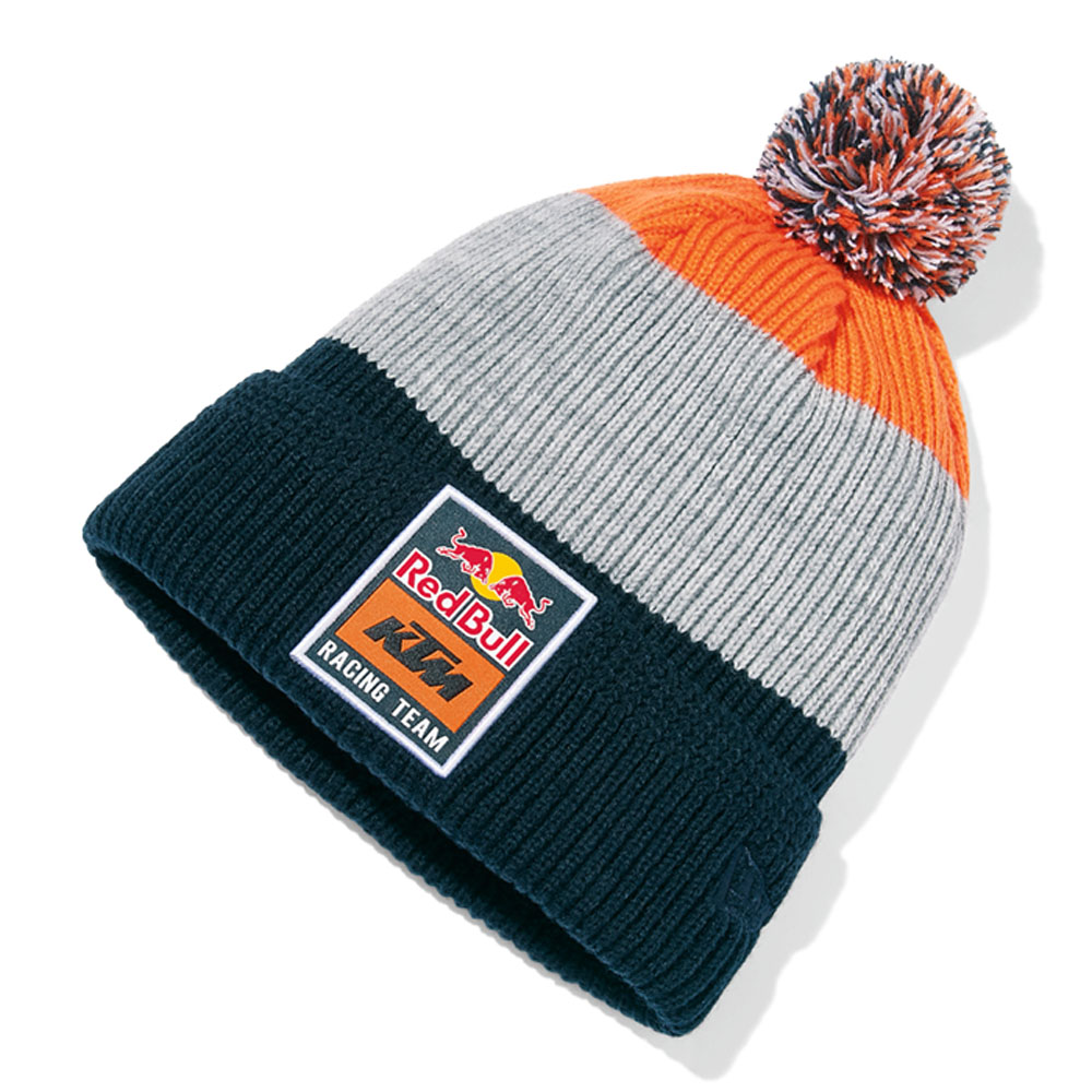 77d302bc6fa 2018 Red Bull KTM Factory Racing Team Stripe Beanie Knitted Pom Pom Hat  Adult