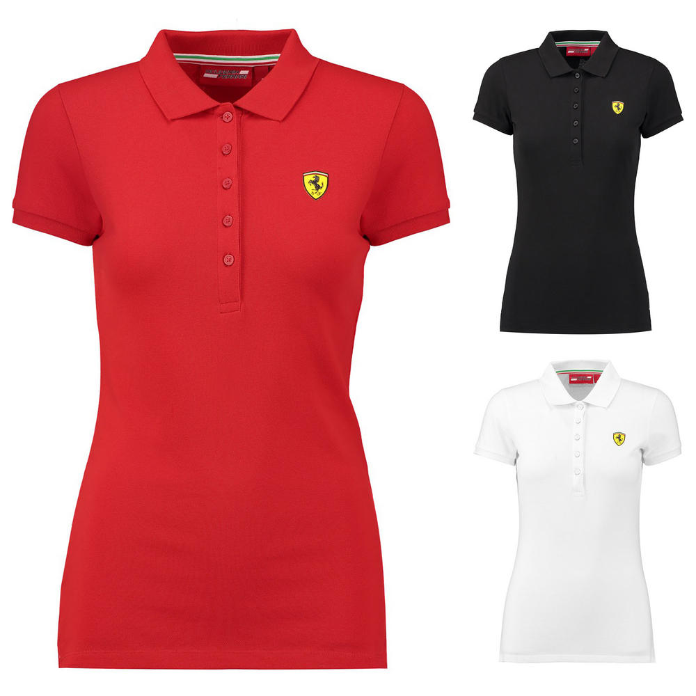 2018 Scuderia Ferrari Womens Ladies Classic Polo Shirt in Cotton Sizes XXS-XL