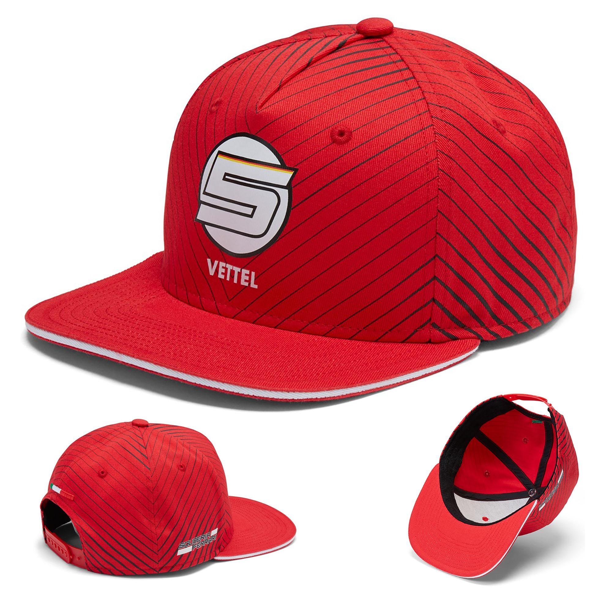13eb512e Ferrari 2018 Sebastian Vettel #5 Adult Flatbrim Cap Official Team  Merchandise