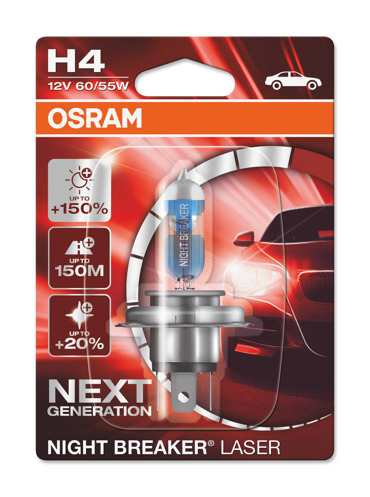 New! Osram H4 Night Breaker LASER Performance Headlight Bulb (x1) 64193NL-01B