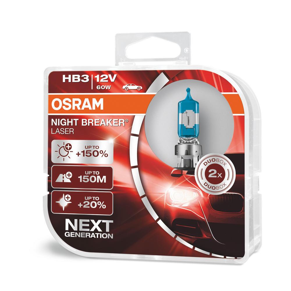 New! Osram HB3 9005 Night Breaker LASER Upgrade Bulbs (x2) 12V 60W 9005NL-HCB