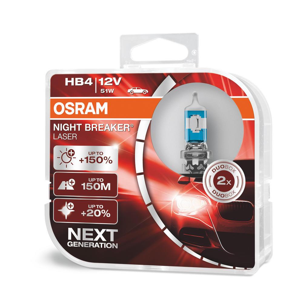 Osram HB4 9006 Night Breaker LASER Upgrade Bulbs (x2) 12V 51W 9006NL-HCB